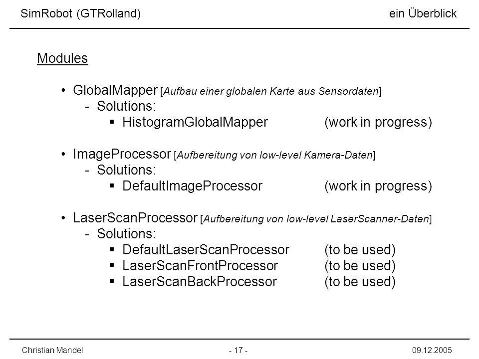 GlobalMapper [Aufbau einer globalen Karte aus Sensordaten] Solutions: